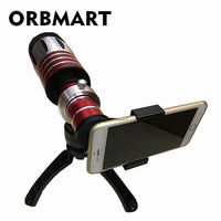 ORBMART 50X Universal Clip Telescope Telephoto Lentes Zoom Lens For iPhone X iPhone 8 8 Plus 7 6s 6 Samsung Mobile Phone Lenses