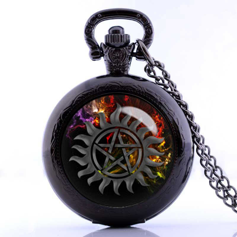 2019 New Design Supernatural Jewelry Cool Anti-possession Symbol Photo Glass Dome Pocket Watch Necklace