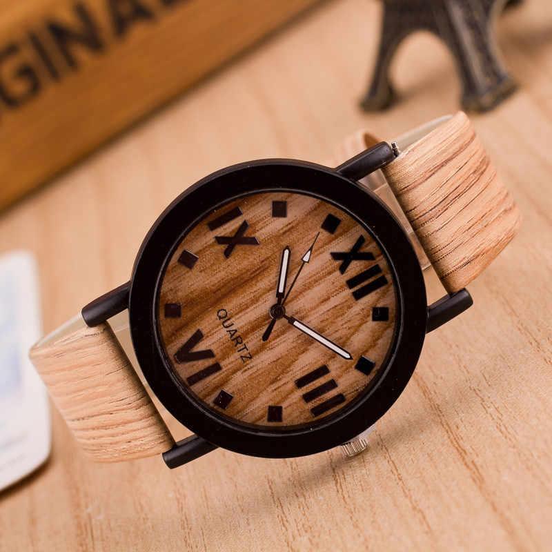 Relojes de pulsera de cuarzo de moda analógicos con banda de cuero de madera con números romanos