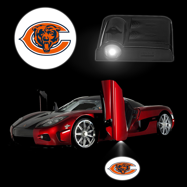 2PCS/Set LED Battery Car Logo Light CHICAGO BEARS Wireless Car Door Lamps Car Styling LED Lighting for BMW Ford All Cars Decor