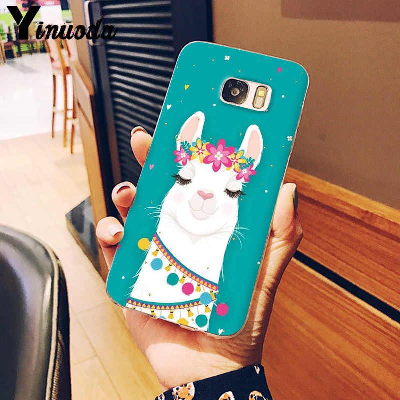 Yinuoda Lama Lama Alpacas Hayvan Desen DIY Boyalı Güzel Telefon samsung kılıfı S9 S9 Artı S8 S8plus S7 S6 S5 Kapak