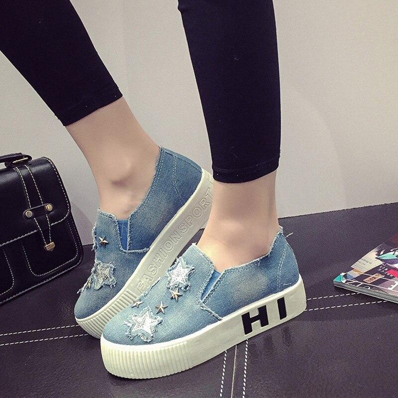 Aliexpress.com  Buy Womenu0026#39;s Flat Shoes Spring 2016 Flat Platform Denim Canvas Shoes Women Thick ...