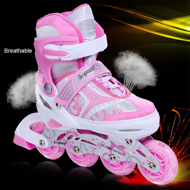 Flashing Roller Skate Shoes For Kids Children Inline Daily Street Brush Skating Girls Boys Unisex Adjustable Skating Shoes IB63 джинсы rip curl джинсы a frame pant