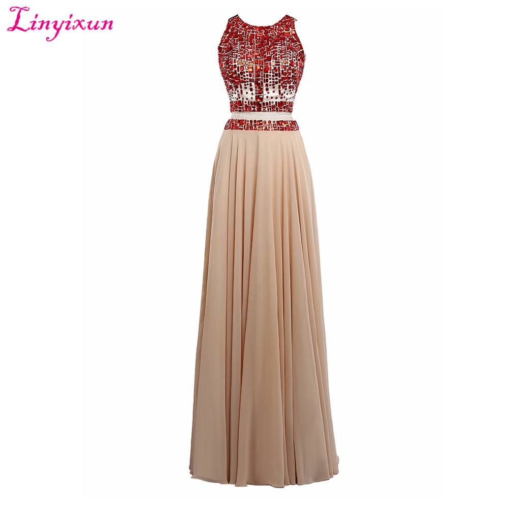 Linyixun Real Photo Sexy Two Pieces   Prom     Dresses   2017 Crystal Beaded Scoop Neck Sleeveless Long Evening   Dress   vestidos de festa
