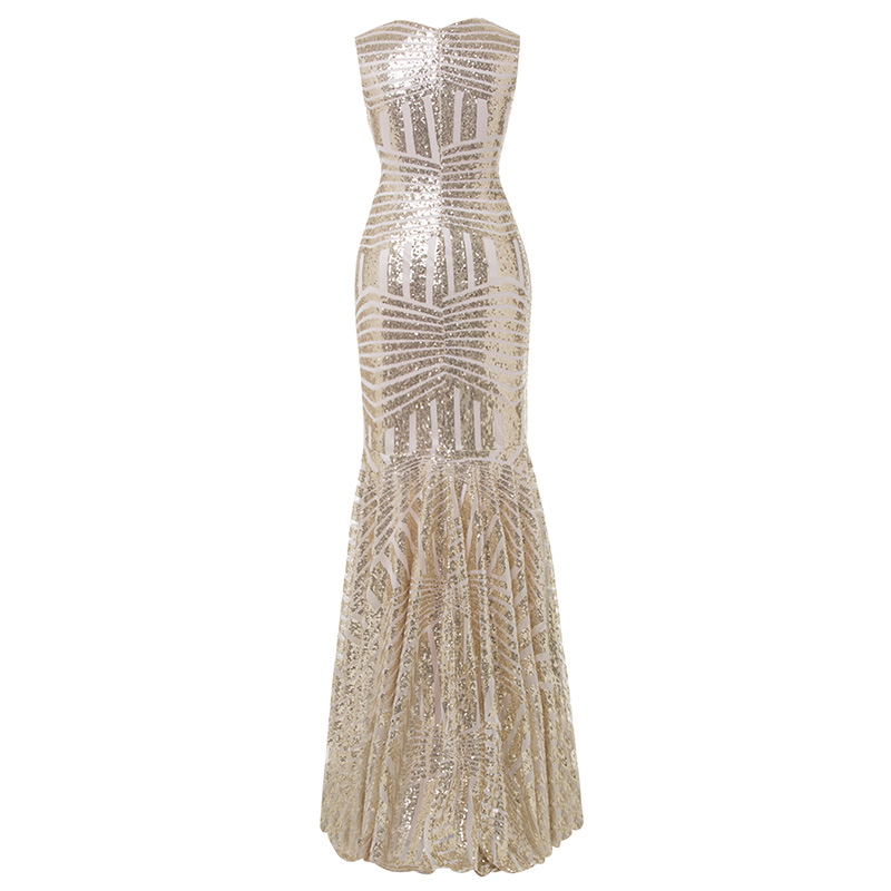 Image 3 - Tanpell sequins long evening dress golden scoop sleeveless floor length dress cheap mermaid zipper up formal party evening gown-in Evening Dresses from Weddings & Events