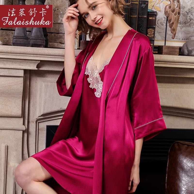 100% seda auténtica salto de cama nupcial mujeres conjuntos de vestido sexy encaje verano manga corta elegancia noble vestido de seda + Batas - 4