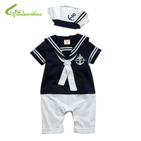 New Fashion Summer Newborn Navy Style Baby Romper Suit Kids Boys Girls Rompers Hat Body Summer