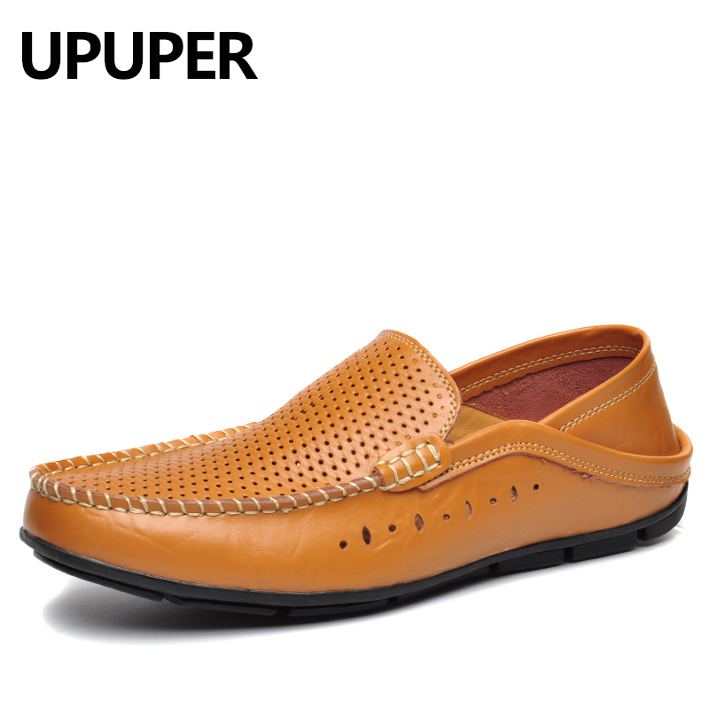 Men Loafers Shoes Summer Breathable Hollow Shoes Genuine Leather Men Shoes Comfortable Driving Slip-on Soft Bottom Casual Shoes new arrival high genuine leather comfortable casual shoes men cow suede loafers shoes soft breathable men flats driving shoes