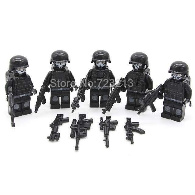 5pcs/lot SWAT Ghost Soldier Military Figure Set Weapon Gun Building Blocks  Sets Models Bricks Toys