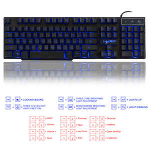 Image 4 - HXSJ R8 Nga/Tiếng Anh USB Chơi Game Có Dây Bàn Phím Nổi LED 3 màu Backlit Bàn Phím với Tương Tự Như Cơ Khí Cảm Thấy Cho teclado