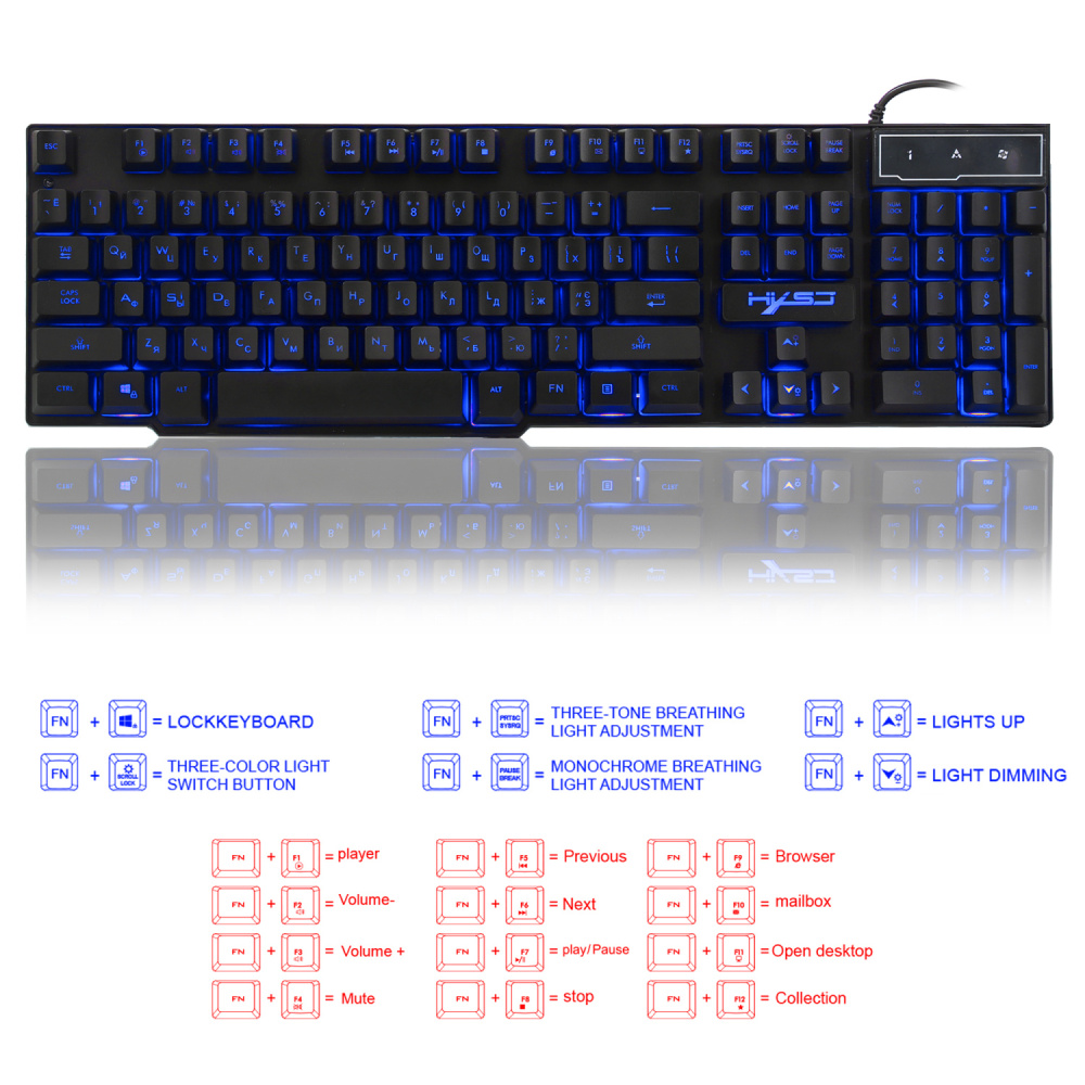 Image 4 - HXSJ R8 Russian/English USB Wired Gaming Keyboard Floating LED 3 color Backlit Keyboard with Similar Mechanical Feel For Teclado-in Keyboards from Computer & Office
