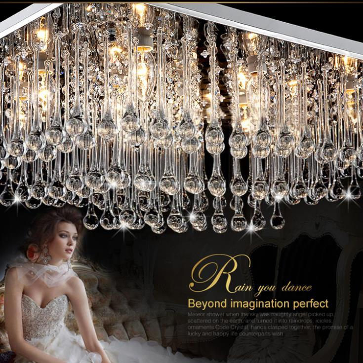 K9 Crystal Chandeliers Home Deco Lighting Fixture Flush Mount Led Lampe Plafonnier Remote Control for Living and Dining Room