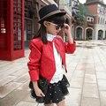2017 primavera meninas faux PU jaqueta de couro curta para as crianças preto vermelho O-pescoço crianças casual zipper casacos outwear 3-13Y FG010