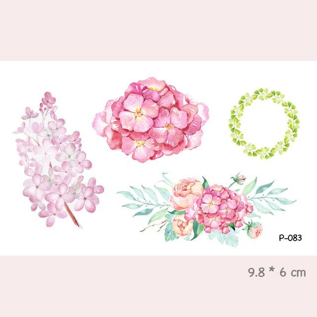 Aquarelle Fleur Etanche Temporaire Tatouage Autocollants Pour