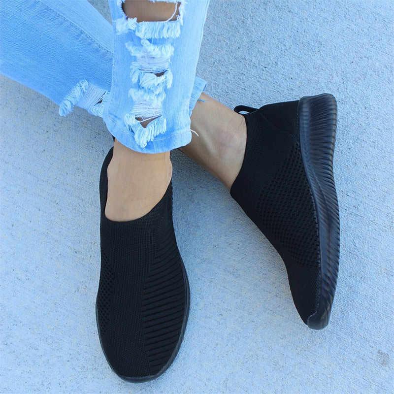 Dành Cho Nữ Nữ Dệt Kim Lưu Hóa Giày Giày Slip On Nữ Phẳng Giày Lưới Huấn Luyện Viên Mềm Mại Đi Bộ Giày Zapatos Mujer