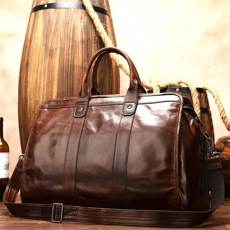multifunctional genuine leather men's travel bag leather duffle bag weekend travel bags overnight sac de voyage homme cuir  8566