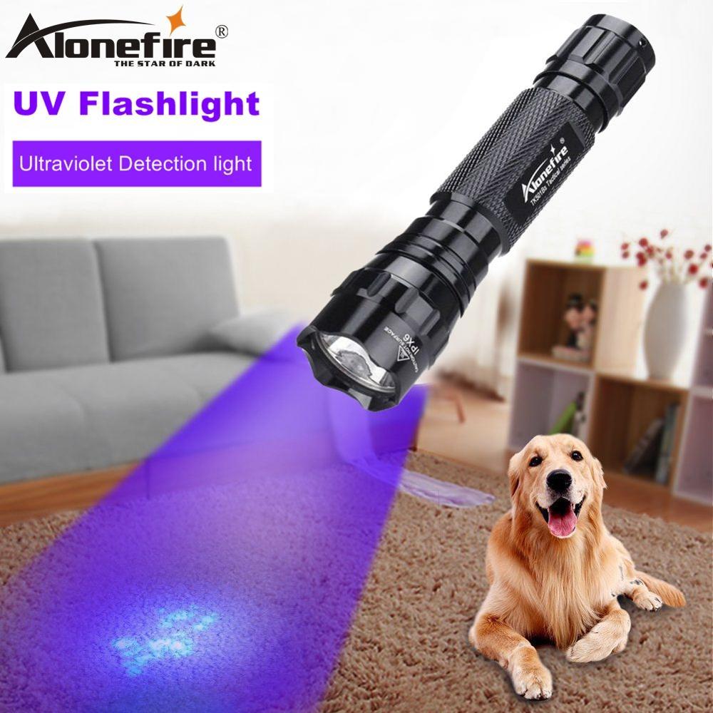 ALONEFIRE 501B High Power UV Light 395nm Flashlight Scorpion Cat Dog Pet Urine Money Ore ID Detection Torch Lamp 18650 Battery