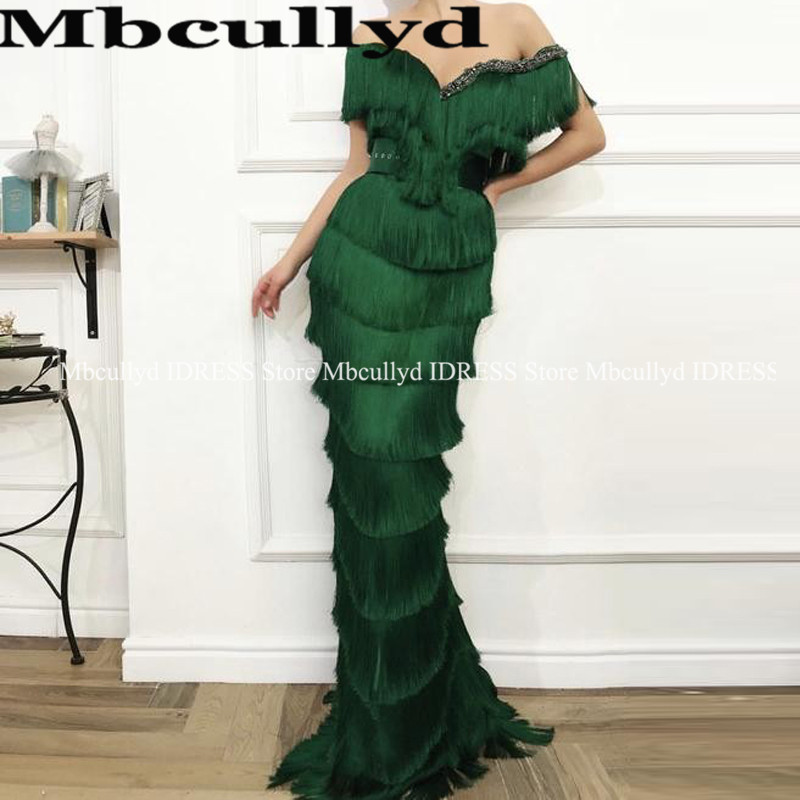 Gorgeous Wavy Emerald Green Tassel   Prom     Dress   Mermaid Long Crystal Off the Shoulder Arabic Women Formal   Prom     Dresses   in Dubai