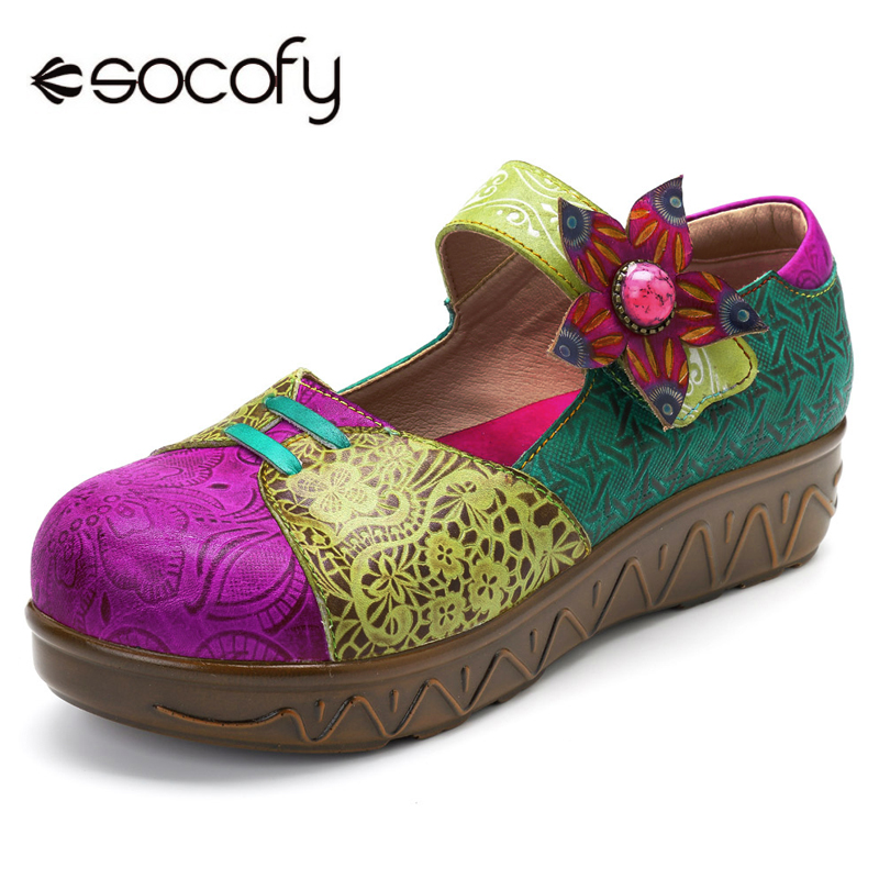 Socofy Bohemian Genuine Leather Shoes Women Vintage Flat Heel Platform Shoes Woman Hook Loop Handmade Flower Mary Jane Flats New socofy bohemian genuine leather shoes women sandals vintage printing forest hook loop wedge heel women slippers summer new