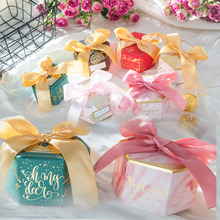 New Multicolor Hexagon Paper Candy Boxes with Ribbon Baby Shower Favor Boxes Wedding Favors and Gift Box Paper Bags for Gifts multicolor new pillow shape gift box corrugated paper gift bags with tassel wedding favor candy boxes baby shower party supplies