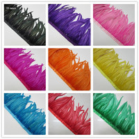 wholesale 10 Yards/lcolor Rooster feather trimming ribbon 35 40cm Sewing on Rooster feathers Tail Fringes DIY wedding decoration