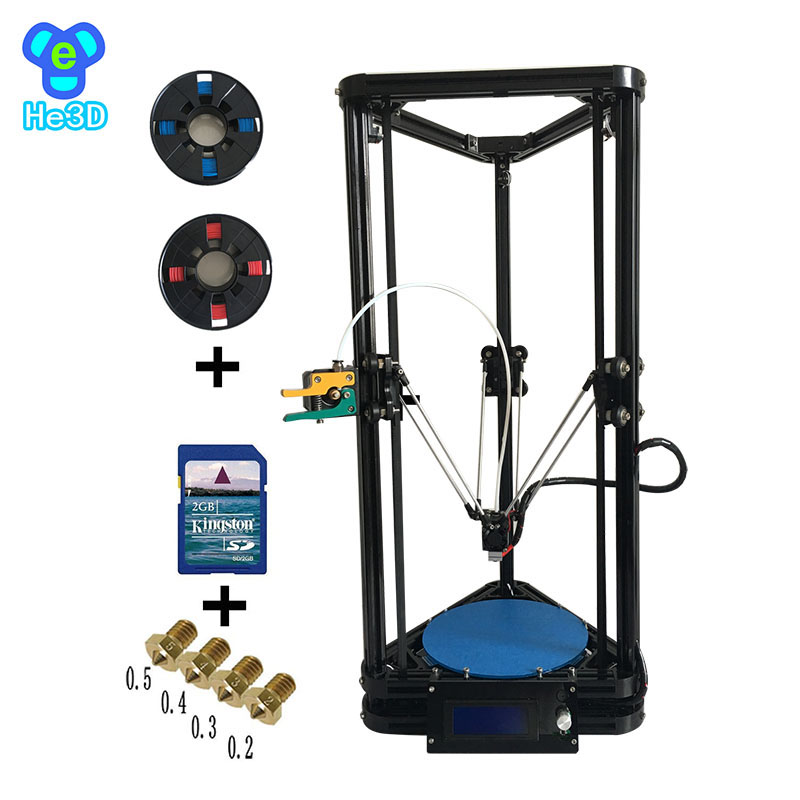 he3d auto level single extruder K200 delta diy 3d printer kit support multi material filament  high precision high quality he3d k280 delta large size auto leveling single extruder the newest dlt k280 3d printer diy kit with heatbed