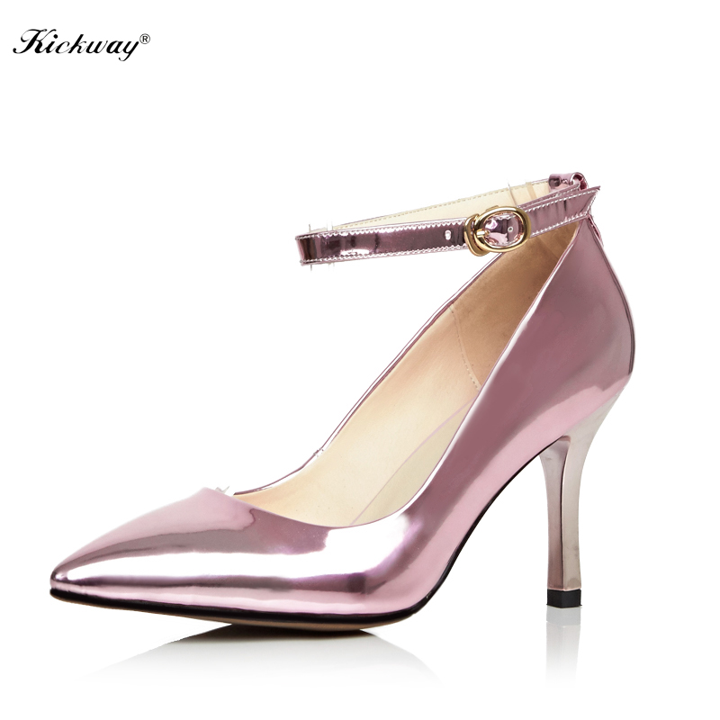 Plus size 34-43 sexy ankle strap Pointed Toe High Heels Fashion Sexy pumps Shoes Women wedding party shoes Pumps shoes 163 meotina high heels shoes women pumps party shoes fashion thick high heels pointed toe flock ladies shoes gray plus size 10 40 43