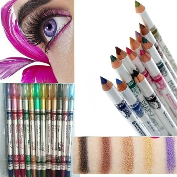 New Arrive 12 Colors Eye Make Up Eyeliner Pencil Waterproof Eyebrow Beauty Pen Eye Liner Lip sticks Cosmetics Eyes Makeup HB88