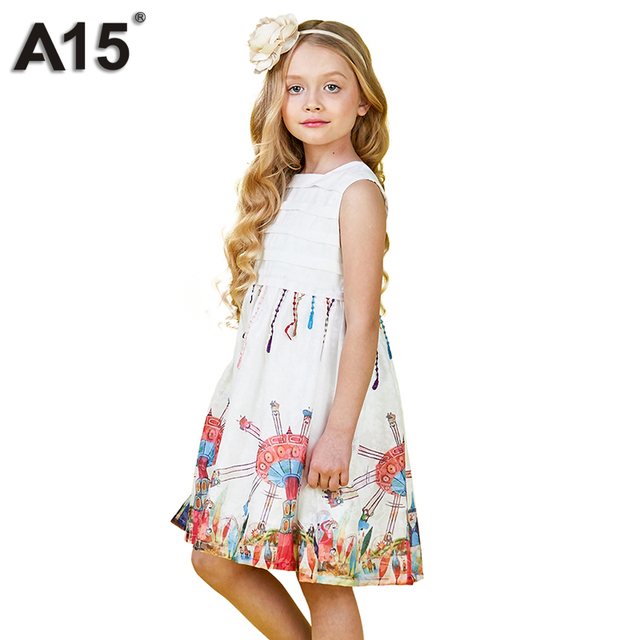 c0584eba6 A15 Girl Clothes Princess Dress 2018 Brand Girls Dress White Cute ...