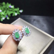 Columbia mining area, natural emerald earrings, 925 sterling silver, womens high end colorful jewelry