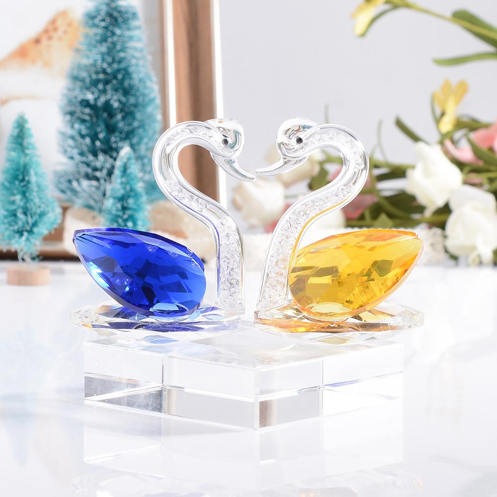 Blue/Yellow Crystal Swan Diamond Filled Wedding Decor Figurine Crystal Glass Figure Ornament Table Decor Collection Friend Gift