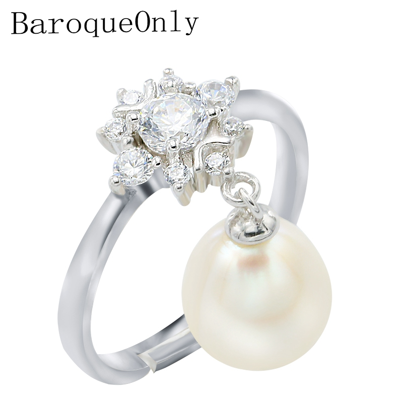 BaroqueOnly 100% Natural pearl rings adjustable wedding