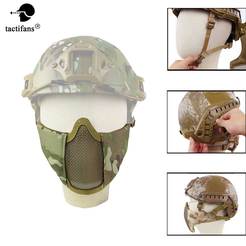 Tactical Helmet Version Metal Mesh Half Lower Face Metal Mesh Mask Protective ARC Rails for Paintball Party Mask CS Airsoft Game