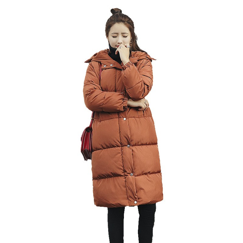 купить  Warm Hooded Cotton Padded Solid Color Warm Parka Femme Casual Loose Jacket Big Size Female Outerwear Winter Coat Wadded TT3352  недорого