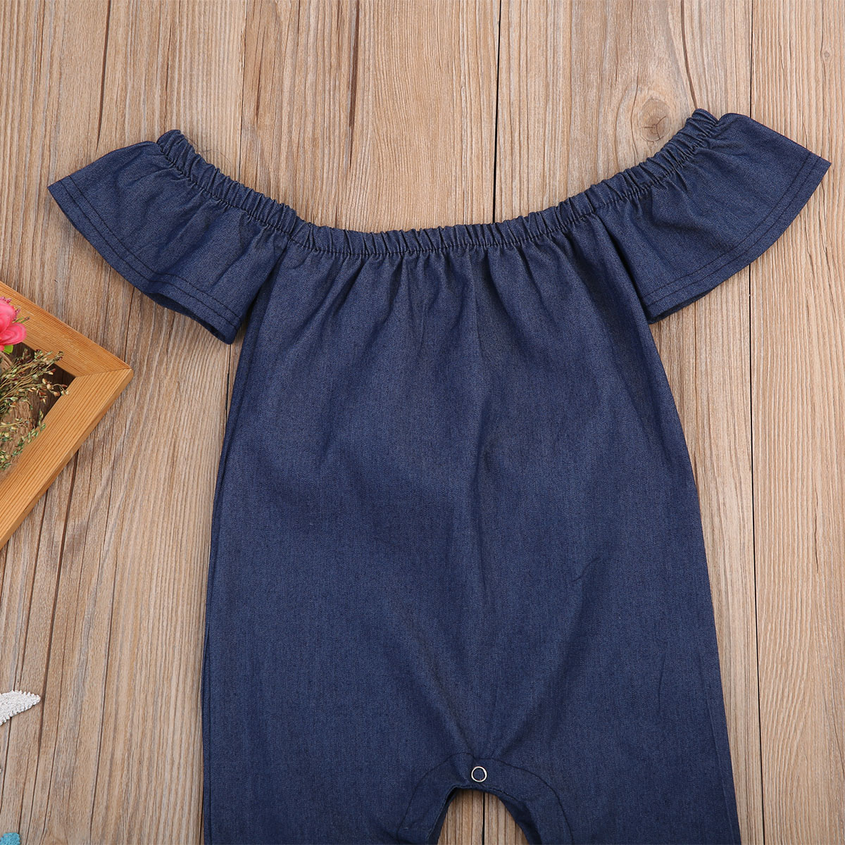 fb616c3c920 Toddler Summer Baby Girl Clothes Infant Kids Jeans Denim Off Shoulder Short  Sleeve Jumpsuit Romper Playsuit Clothes Outfits 0 3Y-in Rompers from Mother  ...