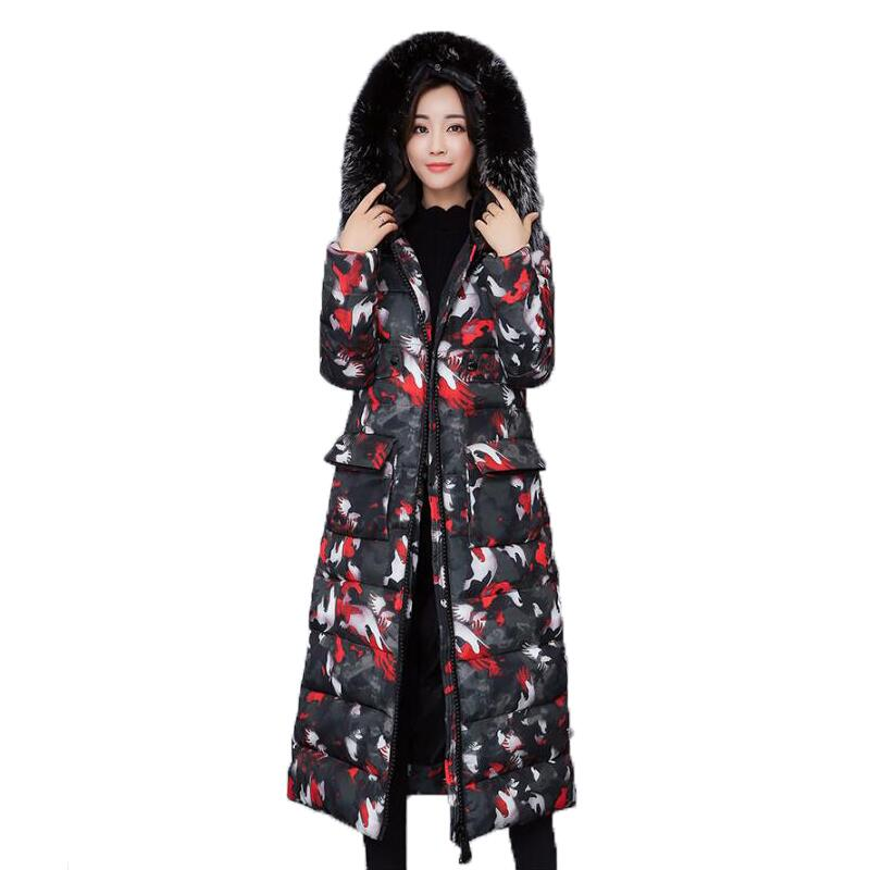 Winter Coat Women 2017 Thick Warm Winter Jackets Female Fur Collar Hooded Long Camouflage Print Parka Coat Plus Size Outerwear vl 2 9