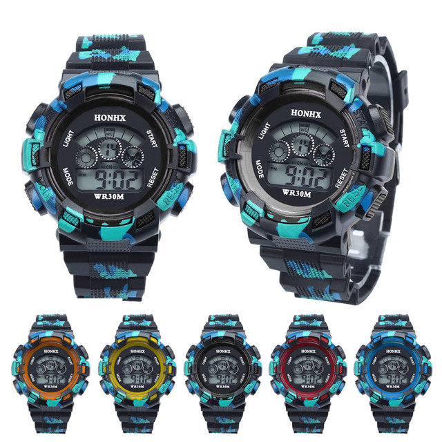 Waterproof Cool Mens Boys LED Quartz Alarm Date Sports Wrist Watch