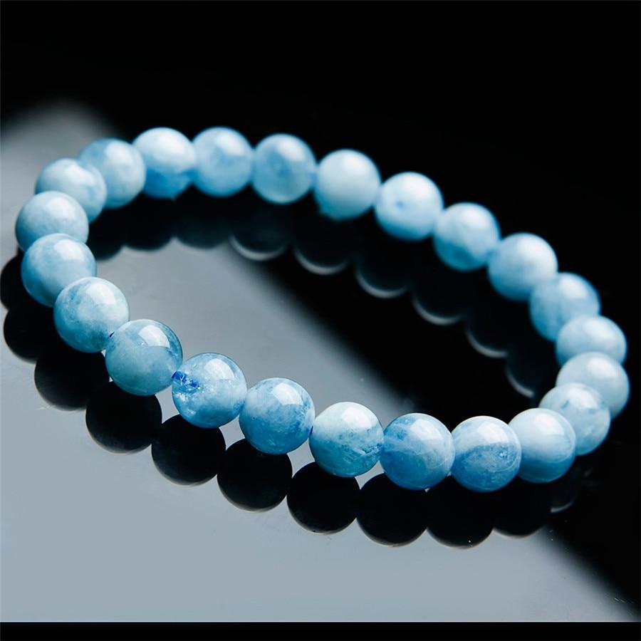 8mm Genuine Natural Blue Aquamarine Bracelet Women Female