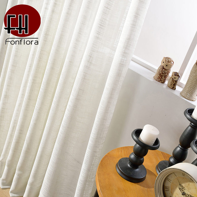 Modern White Tulle Curtains For Bedroom Solid Thick Sheer Curtains For Living Room Rough Plaid Window Treatment Custom Size Pane in Curtains from Home Garden