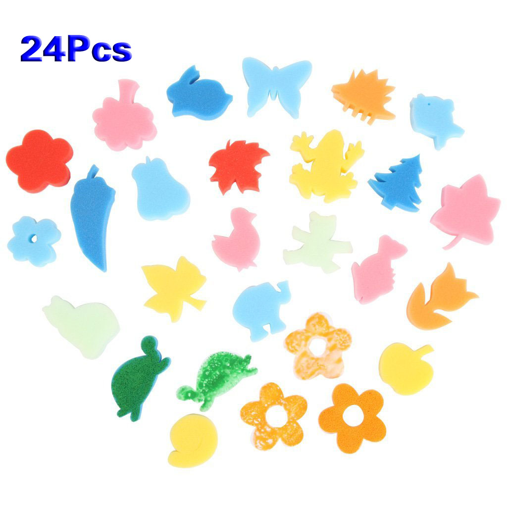 24pcs Colorful Different Shapes Kids Children Crafting Painting Sponge DIY Stamp