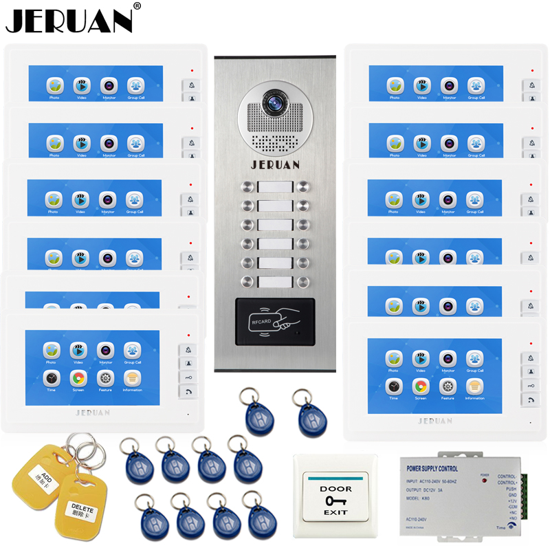 JERUAN 7``  LCD Video Door Phone Record Intercom System RFID Access Entry Security Kit For 12 Apartments Camera To 12 Household