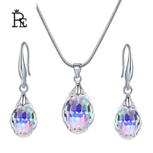 Austrian crystal wedding jewelry necklace set waterdrop square pendant three-dimensional exquisite sets lovers gifts J30