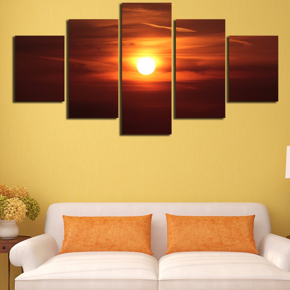 5 Panels Sunrise Natural Scenery HD Oil Printed Painting Sunset ...
