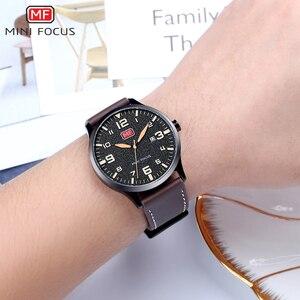 Image 3 - Minifocus Элитный бренд Для мужчин наручные кварцевые наручные часы Для мужчин Водонепроницаемый коричневый кожаный ремешок Мода часы Relógio Masculino