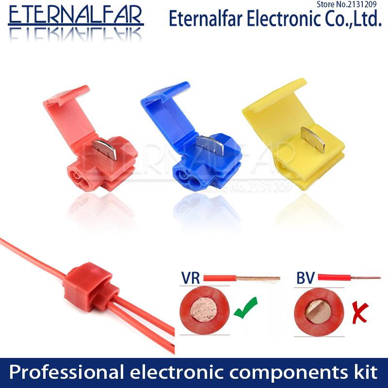 Line Connector Terminal Joint Blue Red Quick Connection Clip Wire Crimp Splitter Lip Break Clamp Strip-free Soft Distributor