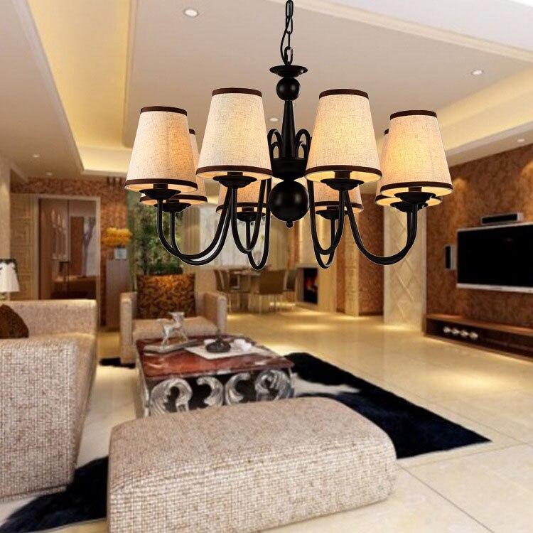 US $88.53 38% di SCONTO|Black metal lampadario illuminazione sala da pranzo  lampada a sospensione lampada di design apparecchio suspendu lamparas de ...