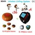 1 комплект беспроводной системы вызова официанта W 4 шт. пейджер часов + 36 шт. красная кнопка зуммера DHL Бесплатная доставка