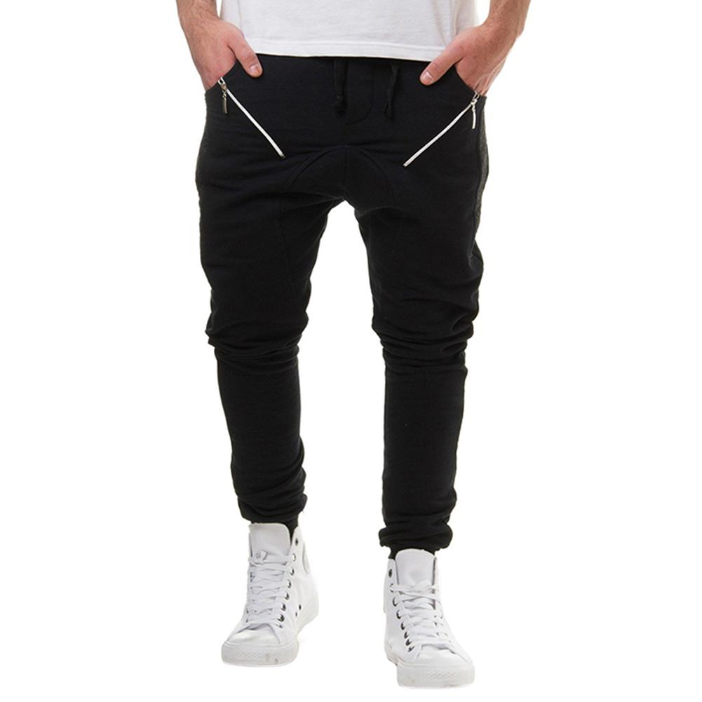 MISSKY New Men Pants Fashionable Elastic Waistband Solid Color Casual Pants Zipper Trousers