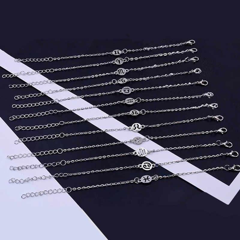2019 חדש תכשיטים 12 קבוצות כוכבים צמיד סגסוגת צמיד גברים אישה כסף צבע פאנק מזלות צמידי מתנות