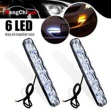 цена на 2Pcs Universal DRL DC 12V LED Daytime Running Lights 6 LEDs Car Styling Super Bright Automobile Light External Light fog lights